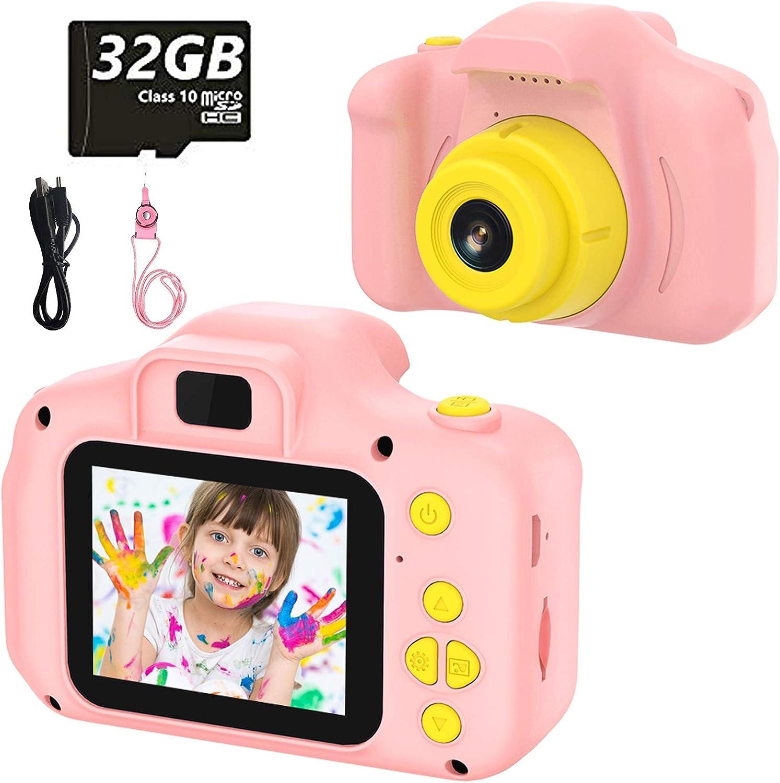 Cámara para Niños Juguete para Niños Cámara Digital para Niños pequeños 2 Inch HD Pantalla 1080P with Calidad 32GB TF Tarjeta Regalos Juguete para 3 a 12 años Niños Niñas