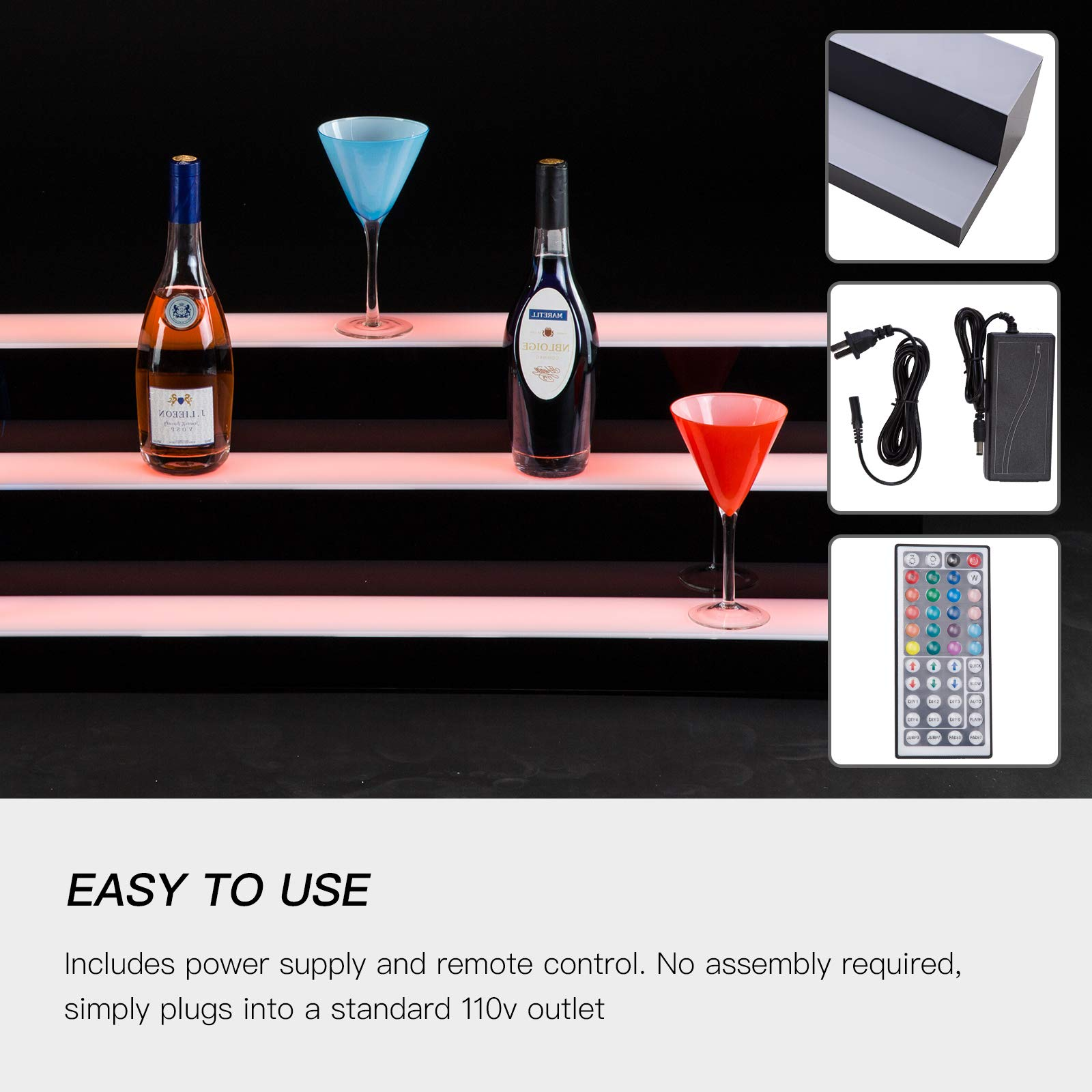 SUNCOO LED Lighted Liquor Bottle Display 60'' 3 Step Illuminated Bottle Shelf 3 Tier Home Bar Bottle Shelf Drinks Lighting Shelves with Remote Control by SUNCOO (Image #3)