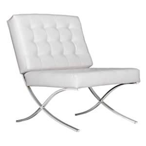 Studio Designs Home 70202 Atrium Lounge, Accent Chair in White Bonded Leather and Chrome Metal