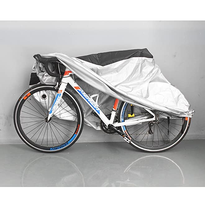 Puroma Bike Cover Outdoor Waterproof Bicycle Covers Rain Sun UV Dust Wind Proof with Lock Hole, Black & Silver, XL