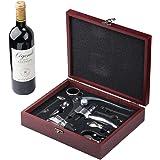 Cooko Coniglio Vino Apribottiglie, Manuale Cavatappi & Aeratore,Vino Accessori con il Caso Cherry Wood Scuro,9 pezzi