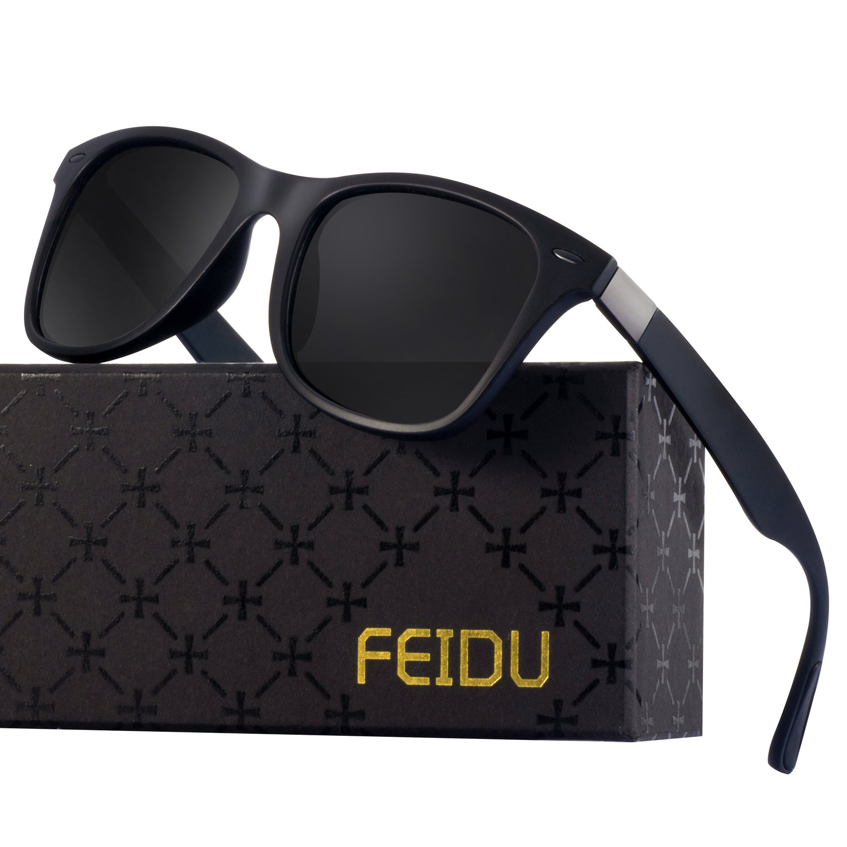 Polarized Wayfarer Sunglasses for Men - FEIDU HD Vision Polarized Sunglasses Mens FD2149 (black/black-2150, 2.08)