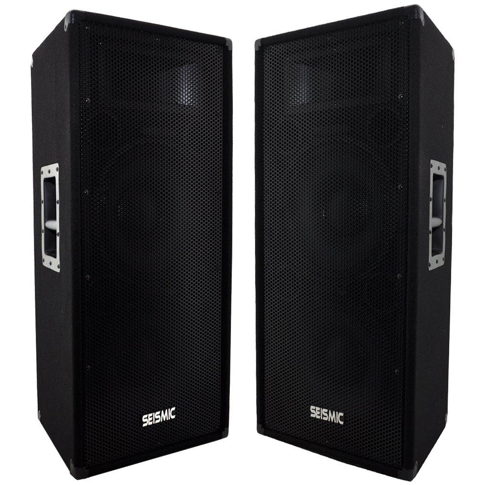 Seismic Audio - FL-122P - Pair of Dual Premium 12'' PA/DJ Speaker Cabinets with Titanium Horns - 700 Watts RMS per Cabinet by Seismic Audio