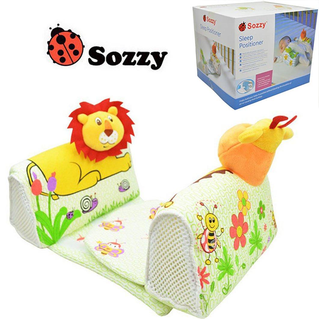 Dearmy Baby Crib Bumper Nursing Pillow Anti-rollover Memory Foam Cute Cartoon Animal Anti-roll Sleeper Pillow Sleep Positioner Breathable Neck Protection Soft Stuffed Pillow (no retail box frog)