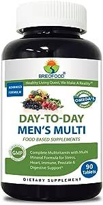 Brieofood Food Based Men's Multi 90 Tablets - Premium Formula With Fruit & Vegetable Blends, Digestive Blend, Vegetable Omega Blend