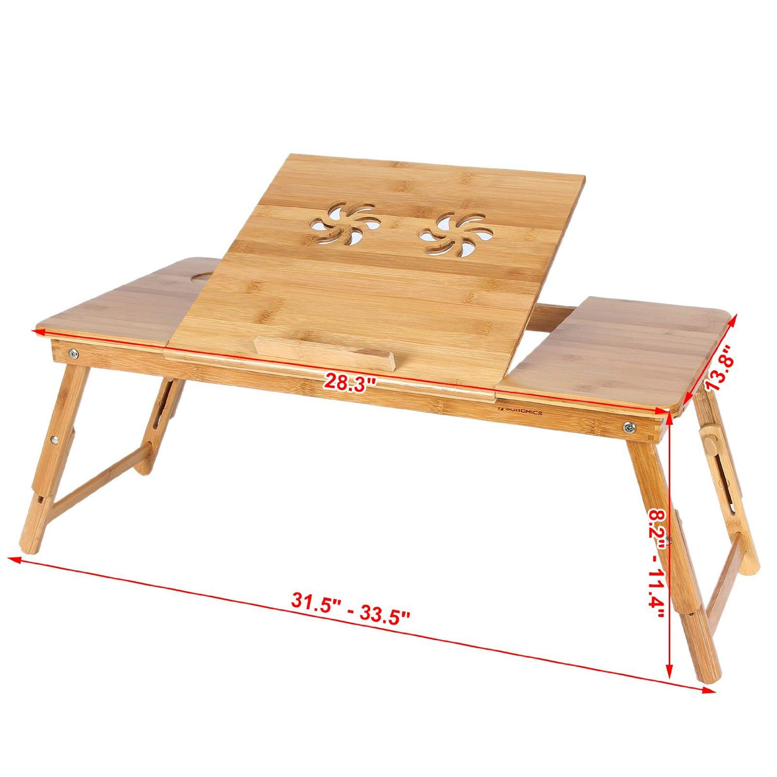 Eco-Friendly Bamboo Foldable Bed Tray, Lap Desk for Laptop Stand/Table 28 inch with Dual Laptop Cooling Fan & Drawer