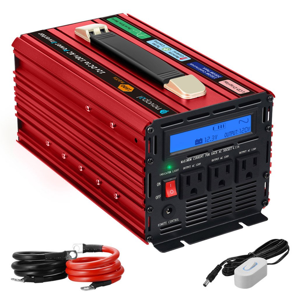 novopal Power Inverter Pure Sine Wave Power Inverter 1500 Watt 3 AC Outlets DC 12v to AC 120v with Remote Control, Big LCD Display(Surge 3000W)