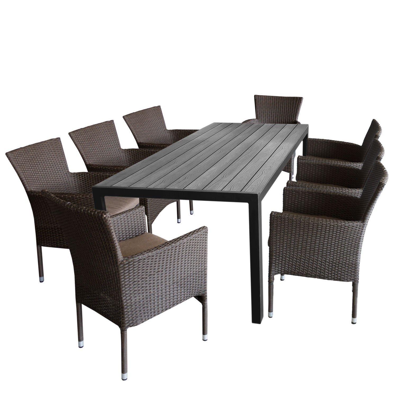 Sitzgruppe Gartengarnitur Terrassenmöbel Gartenmöbel Set Sitzgarnitur U2013  Gartentisch, 205x90cm, Polywood Tischplatte + 8x Gartensessel, Poly Rattan,  ...