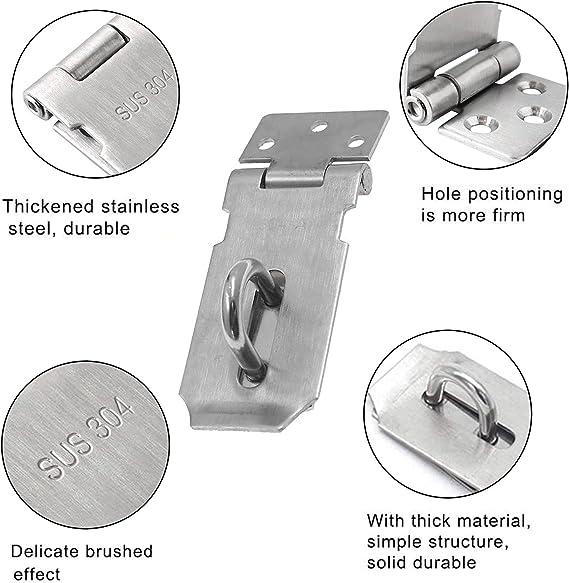 Details about  /1PC Stainless Steel Hasp Latch Lock Sliding Door Lock Security Door Buckle Fitti
