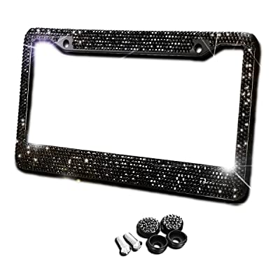 Zento Deals Black Sparkling Rhinestone Glitter Mixed Crystal Bling Stainless Steel License Plate Frame-All Weather-Proof Super Adhesive Black Rhinestone: Automotive