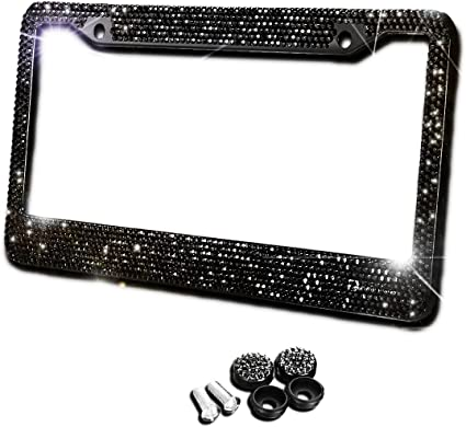 2 All Black Bling Glitter Crystal RhineStone License Plate Frame Car Truck Auto