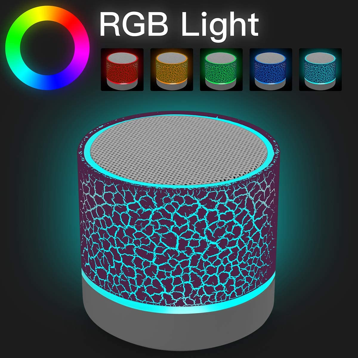 Portable Wireless Mini Bluetooth Speaker,AICase Super Bass Stereo Rechargeable Speaker with LED Lights