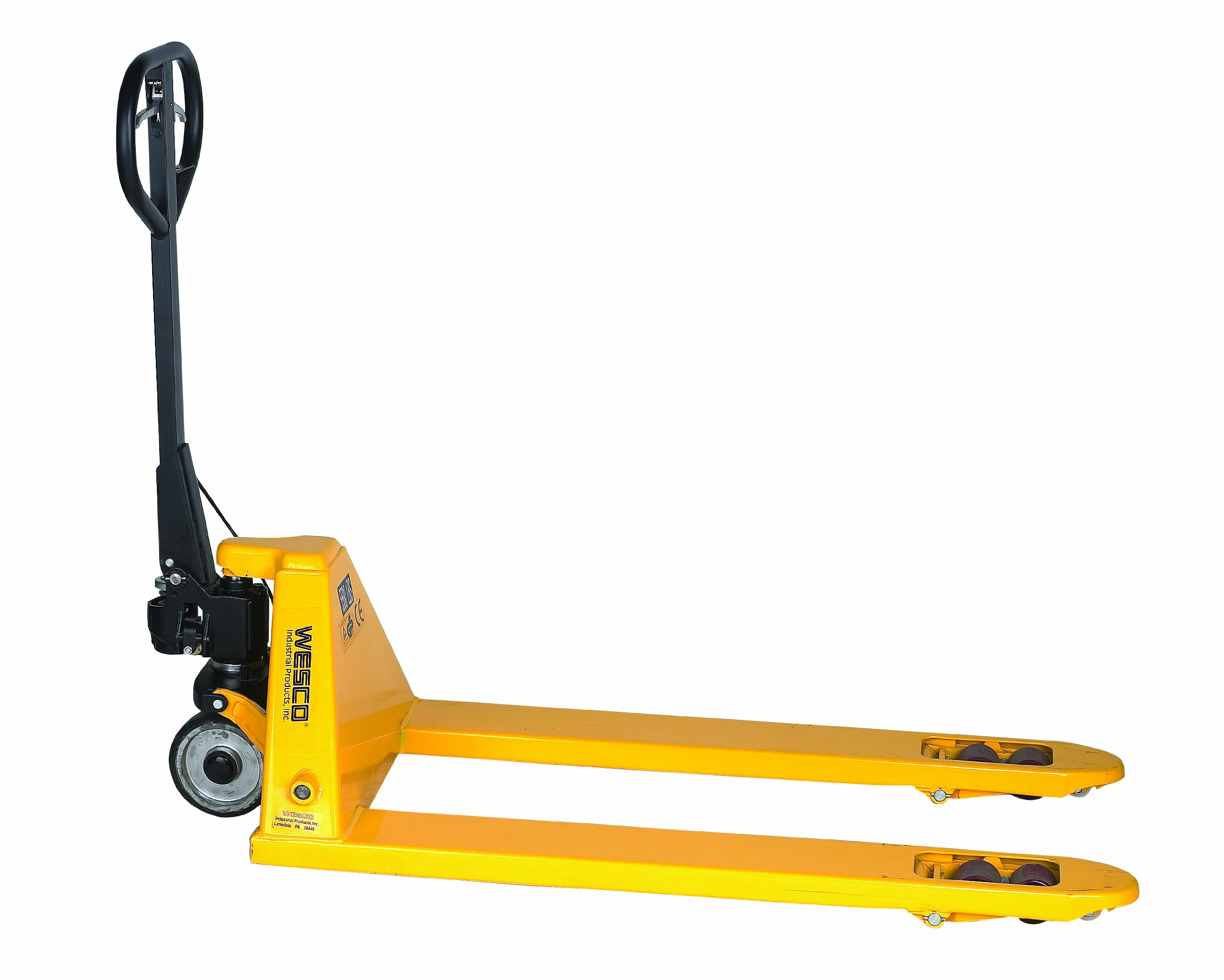 Wesco 272667 Pallet Truck with Hand Brake, Polyurethane Wheels, 5500 lbs Load Capacity, 48-1/4'' Height, 48'' Length x 27'' Width