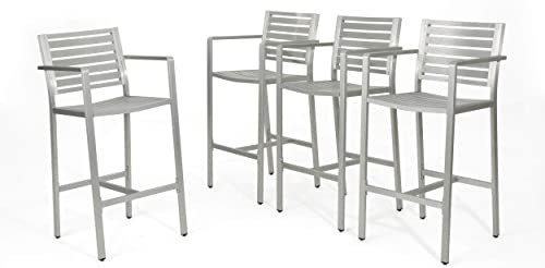 Christopher Knight Home Tammy Coral Outdoor Silver Rust-Proof Aluminum 29.50 Inch Barstools Set of 4