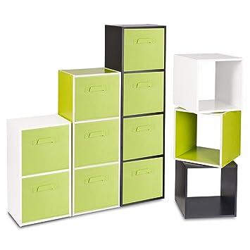Estantería de madera con cajas de almacenamiento de colores, Green Box, cubo: Amazon.es: Hogar