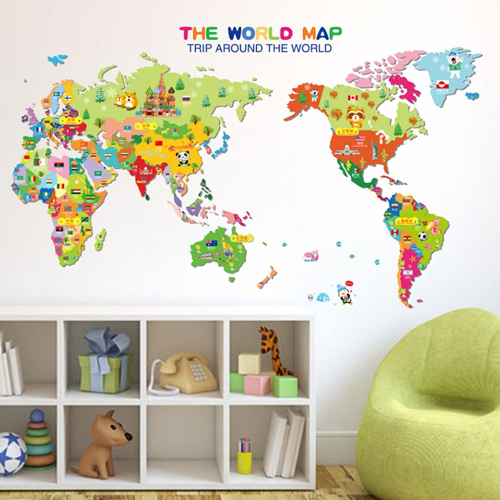 Amazon wowall childrens bedroom decor trip around the world amazon wowall childrens bedroom decor trip around the world cartoon map of the world wall decals home kitchen gumiabroncs Images