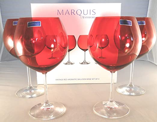 Christmas Tablescape Decor - Vintage Red Crystal Aromatic Balloon Wine Glasses Set of 4 by Marquis By Waterford