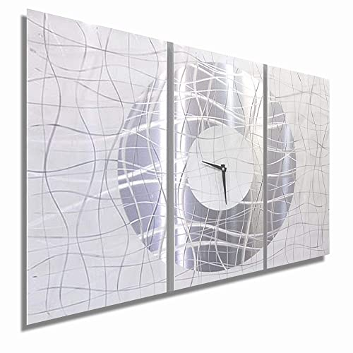 Statements2000 Extra Large Silver White Metal Wall Clock – Modern Abstract Home D cor – Contemporary Vibrations XL by Jon Allen – 62-inch
