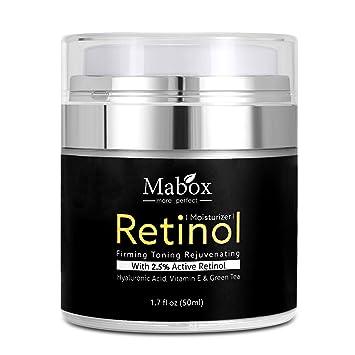 Mabox Retinol humectante Crema para cara y ojos zona 1,7 oz - con Retinol, ácido hialurónico, Vitamina E y té verde. Noche y Día Crema Hidratante: ...