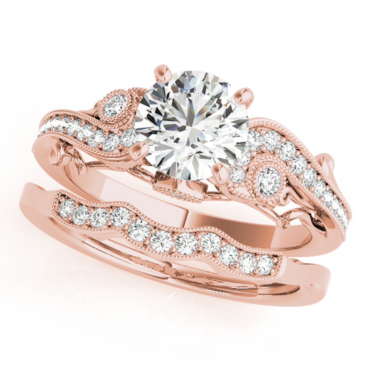 0.60 Ct. Diamond Engagement Bridal Ring Set 14K Solid Rose Gold