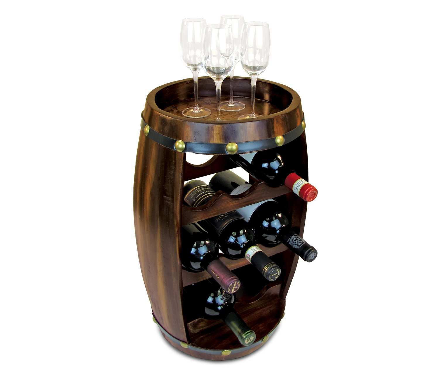 "Wine Rack Freestanding Wooden Barrel Shape Hold 8 Bottles - Wine Décor Holder Storage Furniture Accessory 19.3""x10.4"" For Home, Kitchen, Bar, Living Room - Counter Top or Floor Stand - Alexander #9420 Puzzled Inc. Alexander2017"
