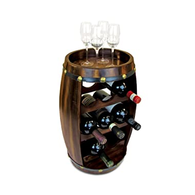 Puzzled Contemporary Barrel Wooden 8 Bottle Wines Rack & Wine Glasses, Free Standing Fully Assembled Elegant Storage Liquor Display Stackable Decorative Organizer Home Kitchen Countertop Accessory