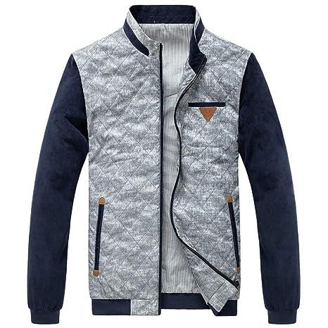 Chengzuoqing Chaquetas Ligeras para Hombres Abrigo con Cremallera Prendas de Abrigo Cazadora (Color : Gray