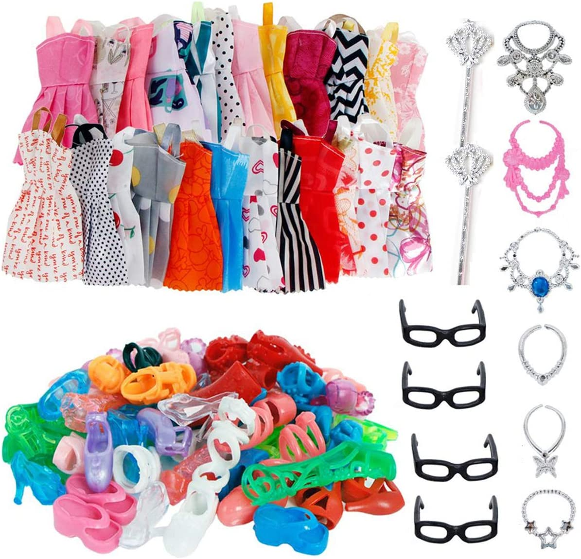 AMETUS 32 PCS Doll Accessories, 10x Mix Cute Dresses, 10x Shoes, 4X Glasses, 6X Necklaces, 2X Fairy Sticks Dress Clothes for Barbie Doll