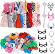 32 PCS Doll Accessories, 10x Mix Cute Dresses, 10x Shoes, 4X Glasses, 6X Necklaces, 2X Fairy Sticks Dress Clothes for Barbie Doll