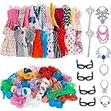 AMETUS 32 PCS Doll Accessories, 10x Mix Cute Dresses, 10x Shoes, 4X Glasses, 6X Necklaces, 2X Fairy Sticks Dress Clothes for Barbie Doll