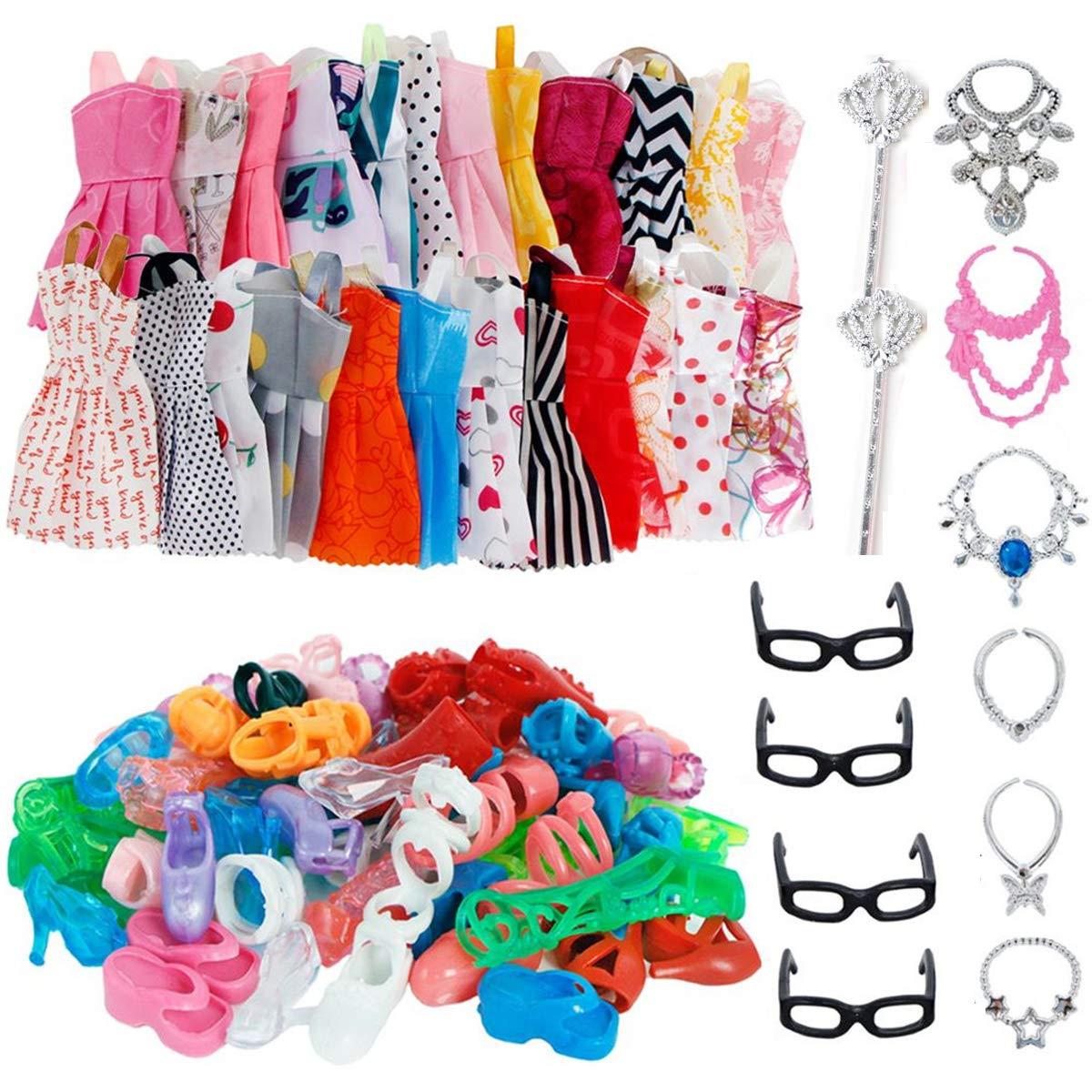 AMETUS 32 PCS Doll Accessories, 10x Mix Cute Dresses, 10x Shoes, 4X Glasses, 6X Necklaces, 2X Fairy Sticks Dress Clothes for 11.5 inch Doll