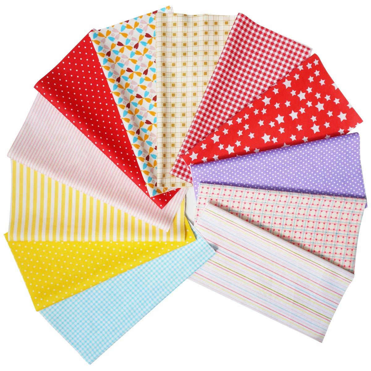 Quilting Fabric Misscrafts Cotton Craft Fabric Bundle Squares Patchwork Pre-Cut Quilt Squares for DIY Sewing Scrapbooking Quilting Dot Pattern 50PCS 30X30cm