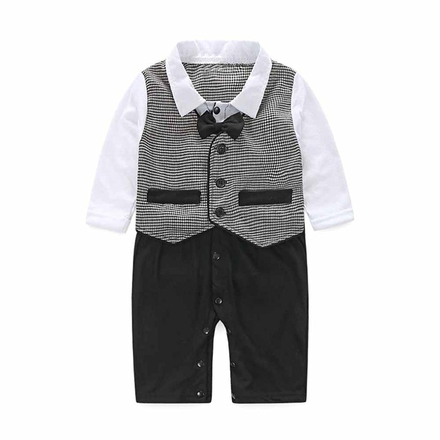 Kingko 0-24Months Baby Boy Formal Party Christening Wedding Tuxedo Waistcoat Bow Tie Suit