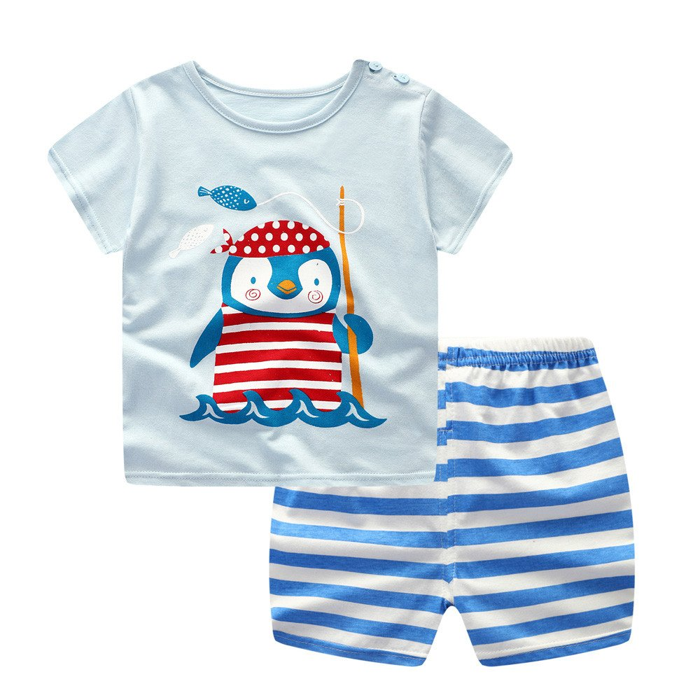 0yedens Newborn Toddler Kids Baby Boys Girls Short Sleeve Catoon T-Shirt & Stripes Short Pants Outfits Set