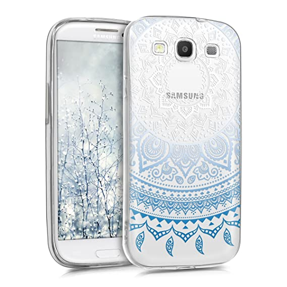 kwmobile TPU Silicone Case for Samsung Galaxy S3 / S3 Neo - Crystal Clear Smartphone Back Case Protective Cover - Blue/White/Transparent