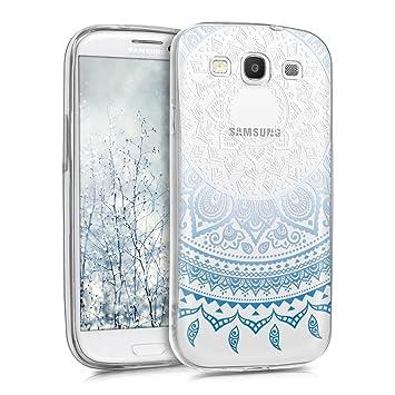 kwmobile Funda para Samsung Galaxy S3 / S3 Neo - Carcasa de TPU para móvil y diseño de Sol hindú en Azul/Blanco/Transparente