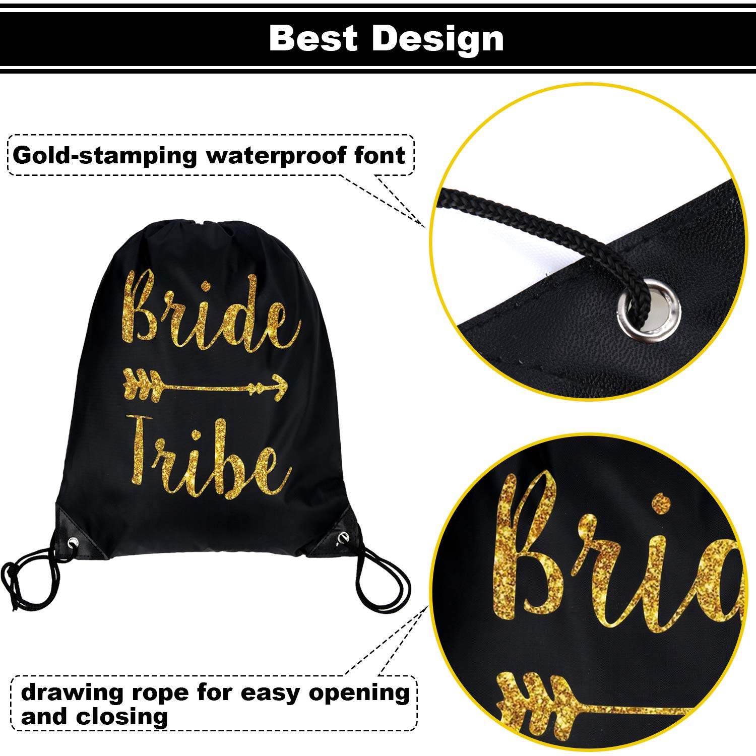 12 Pieces Bride and Bride Tribe Drawstring Bags Wedding Drawstring Gift Bag Bridal Party Favor Bags for Bridesmaids Bridal Party Bridal Shower, 16.5 x 13.4 inch (Black) by Maitys (Image #3)