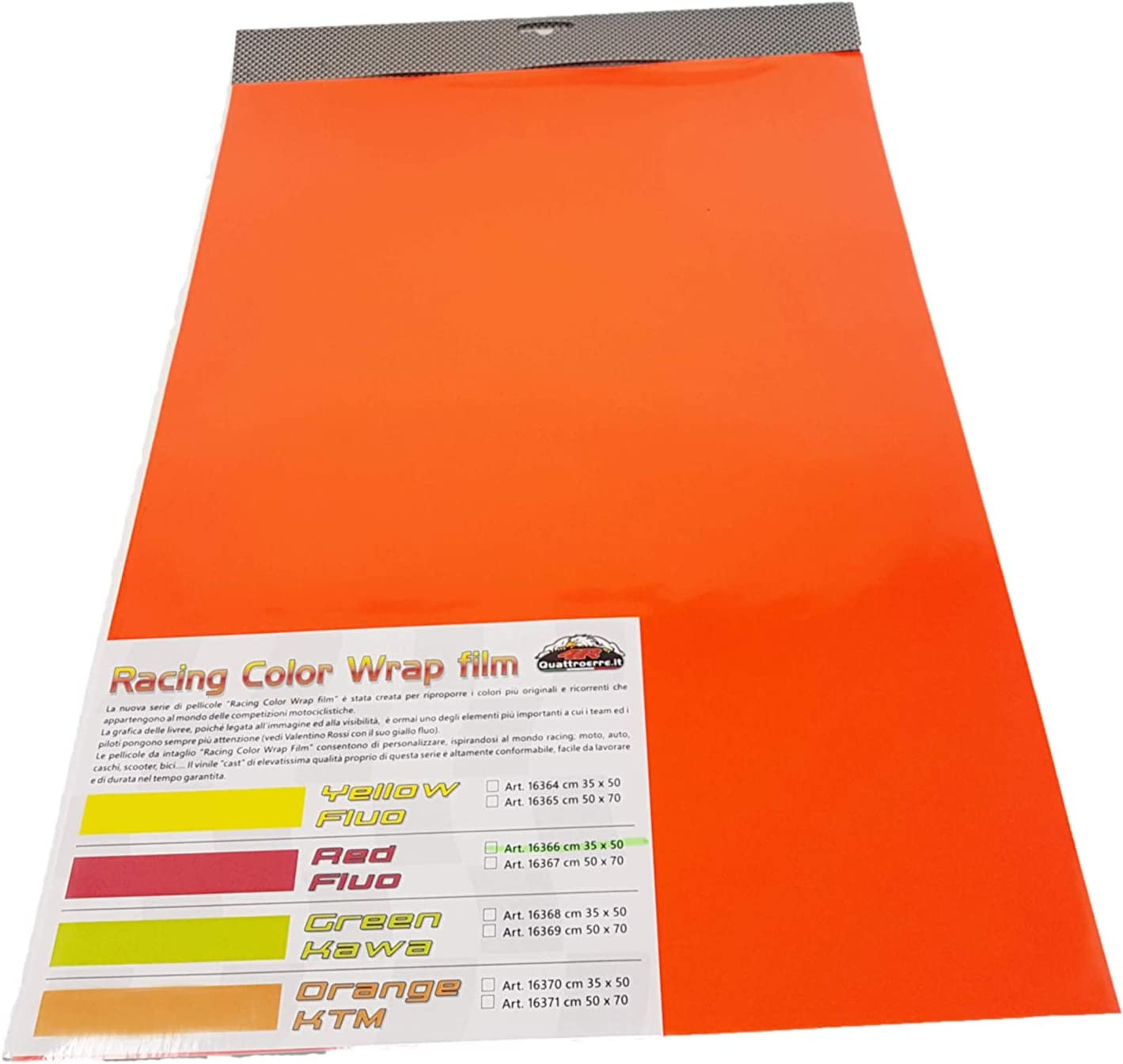 35 x 50 cm 4R Quattroerre.it 16370 Foglio Pellicola Adesivo Car Wrapping Arancione Ktm