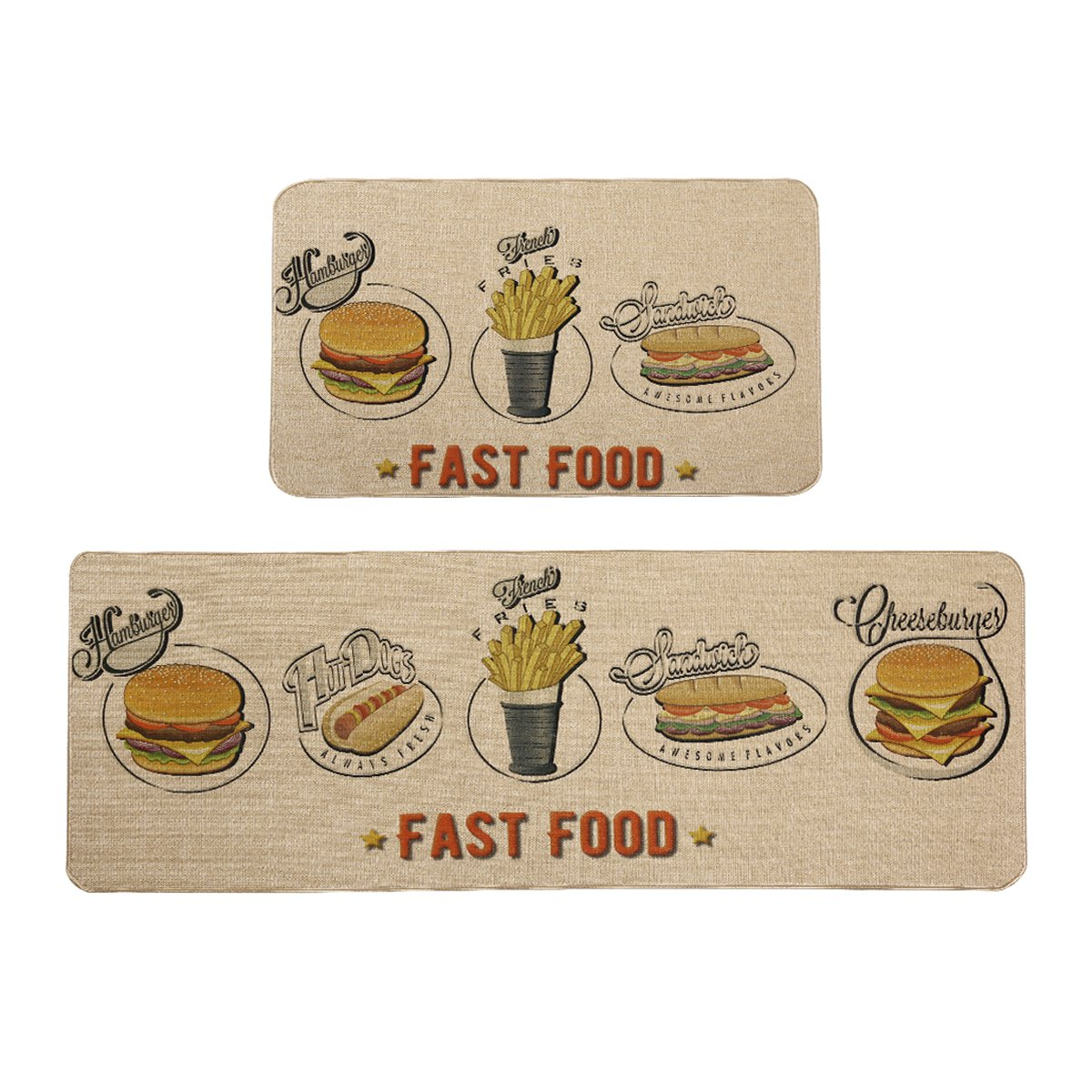 MAYSHINE Kitchen Rugs Sets and Mats Anti-Fatigue Comfort Non-Slip Door mat Natural Rubber Backed - 17x29.5+17x47 inch MSUS18051422