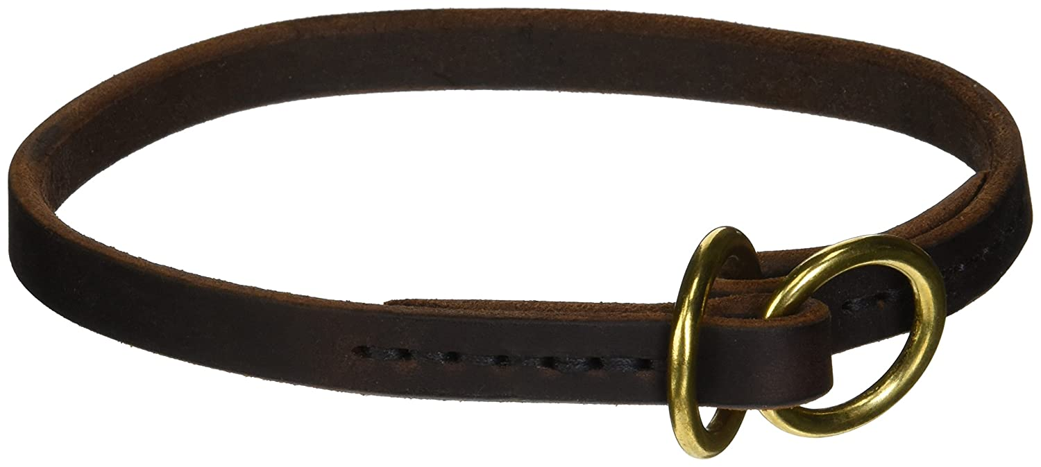 Dean and Tyler TRANQUILITY , Leather Dog Choke Collar with Solid Brass Hardware Brown Size 18-Inch by 1 2-Inch Fits Neck 16-Inch to 18-Inch