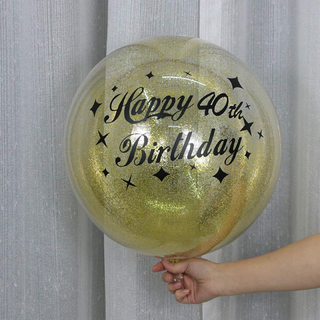 Happy Birthday Transparent Round Balloon Confetti Black and Gold Sticker (30th Birthday) with Pump