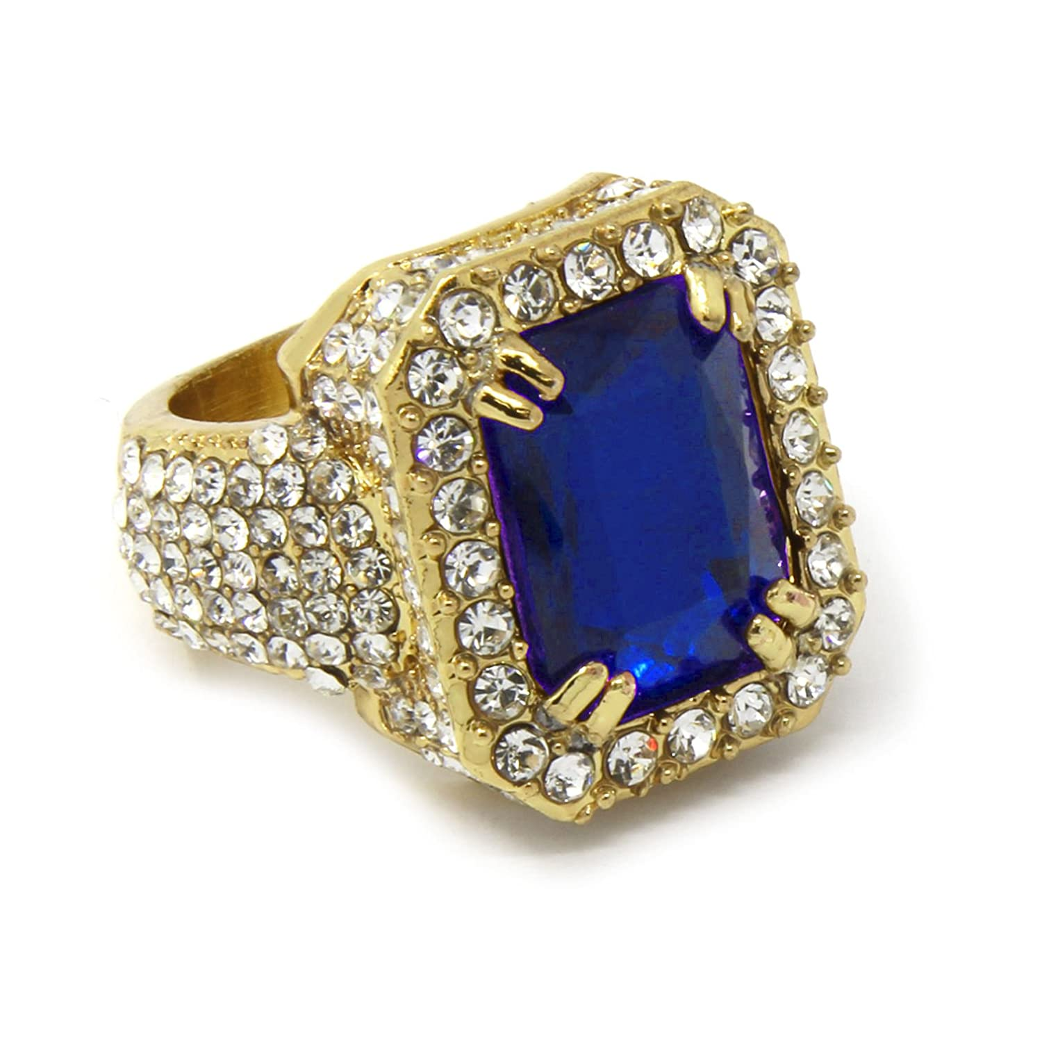 Men's 14k Gold Plated Hip Hop Iced Blue Ruby Cz Ring Size Available 7 8 9 10 11 12