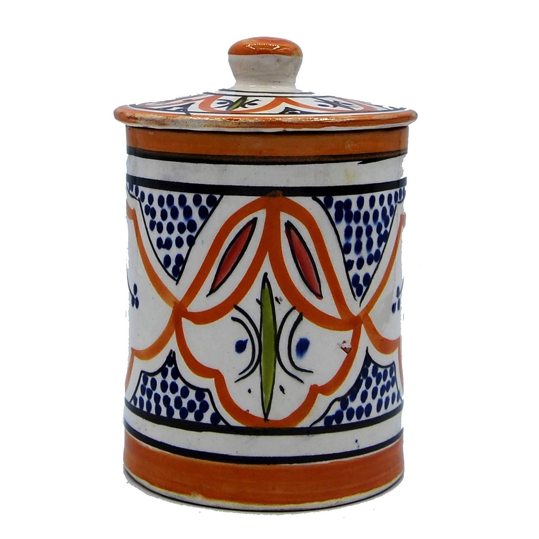 Etnico Arredo Porta Spezie Ceramica Terracotta Dipinto a Mano Marocco 0506191005
