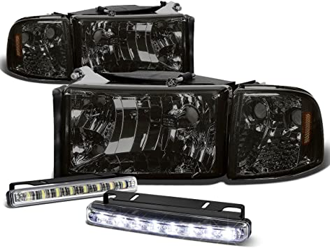 SMOKED AMBER REFLECTOR HEADLIGHT+8 LED GRILL FOG LAMPS FOR 03-06 AVALANCHE