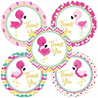 Pink Flamingo Thank You Sticker Labels for Party Favors - Girl Birthday Baby Shower - Set of 30