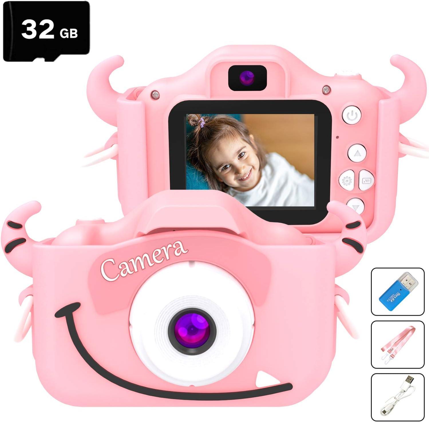Mini Digital Camera Cartoon Camera Kids Toy Mini Camera with Double Port Gift for Kids Pink