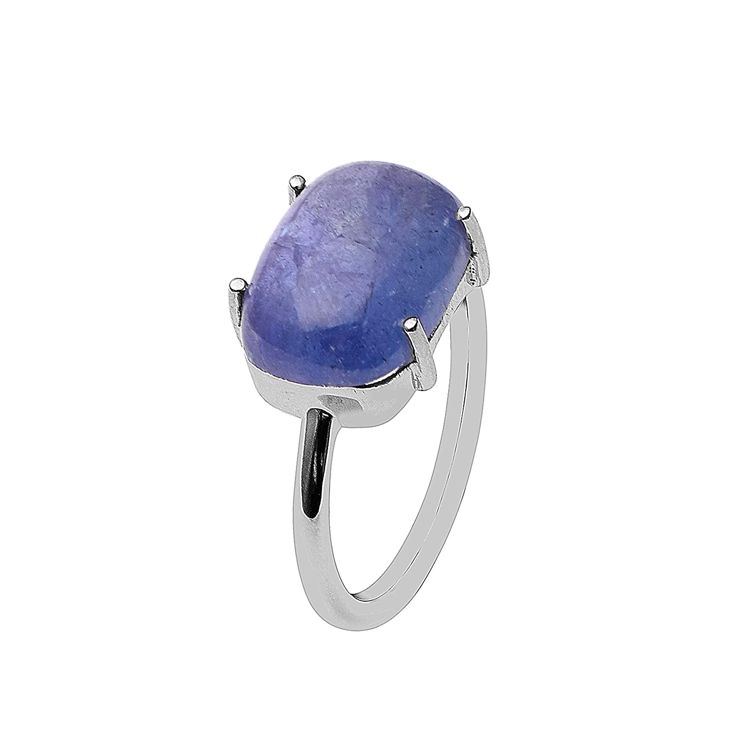 Solitaire Prong Set Rings 925 Sterling Silver Natural Tanzanite Single Stone Statement Promise Ring for His /& Her