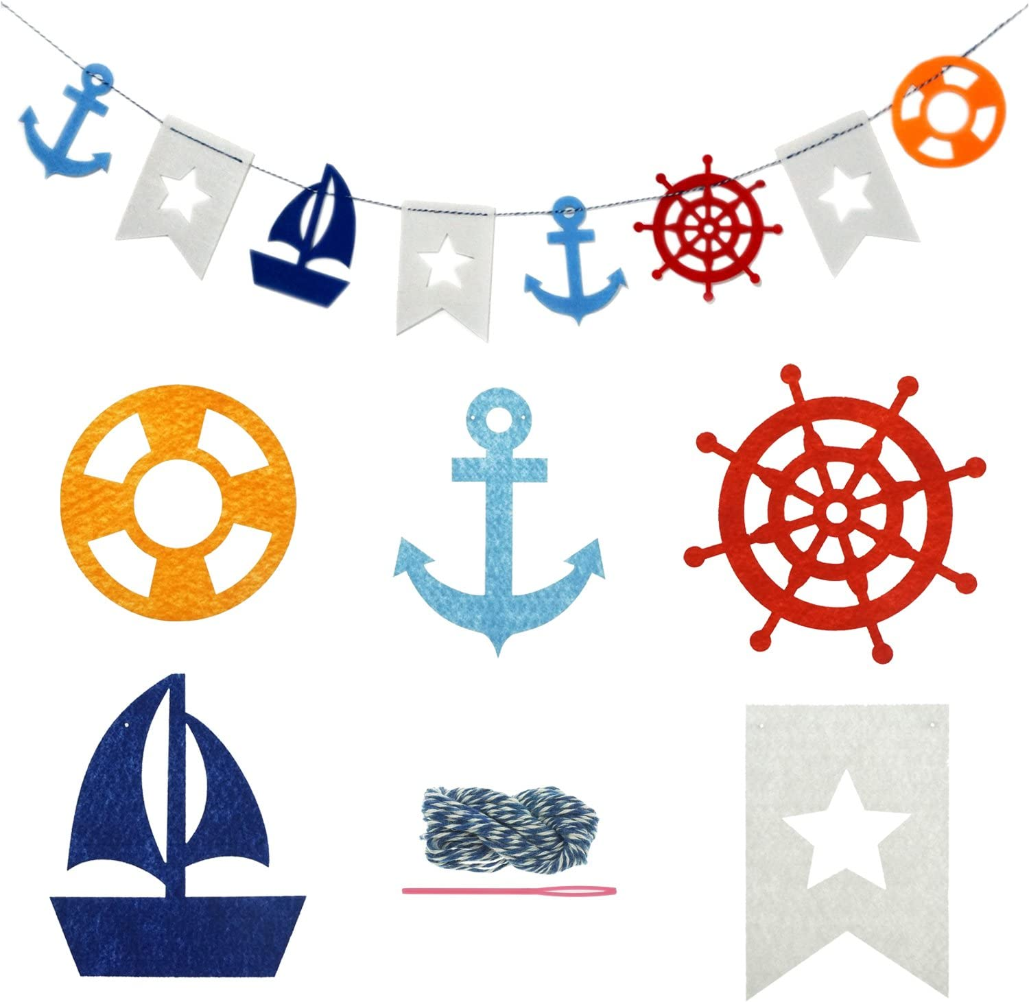 Bilipala Nautical Bunting Banner, Nautical Party Decorations, Pennant Banners for Party