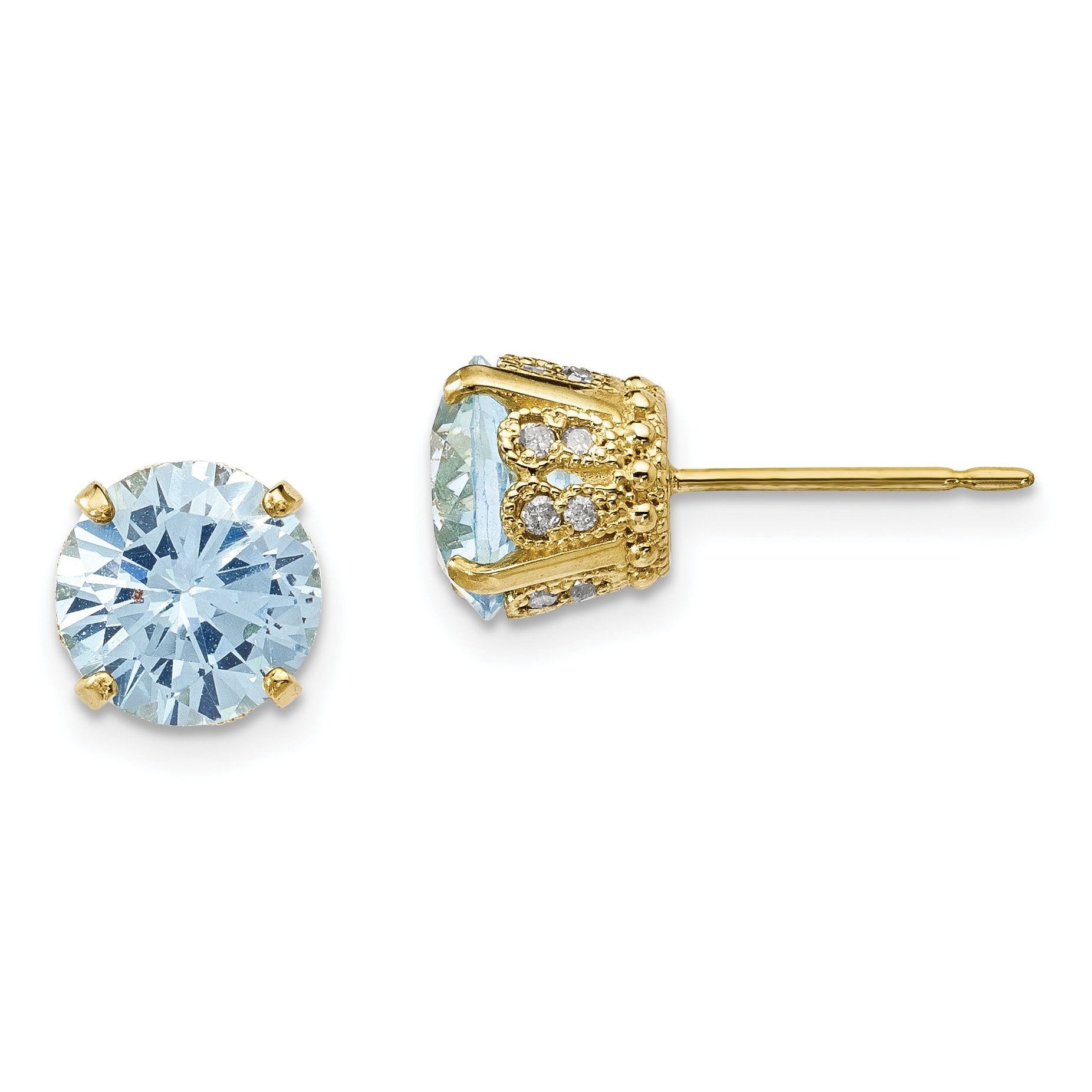 ICE CARATS 10k Yellow Gold Tiara Collection Diamond Lab Created Blue Aquamarine Post Stud Ball Button Earrings Set Birthstone Yc Fine Jewelry Gift Set For Women Heart