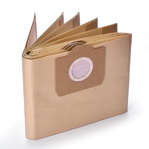 GL Gear Paquete de 10 bolsas de papel para filtro de polvo 6.959-130.0 para aspiradora Karcher WD3 WD3P Wet & Dry de repuesto, papel, marrón, 10 ...